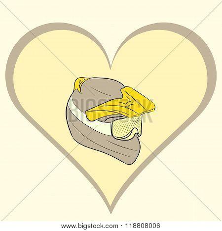 Motorcycle helmet in brown heart