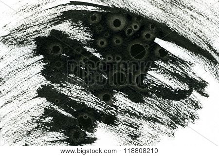 Abstract watercolour aquarelle hand drawn wash drawing arty grunge creative black paint stains and strokes on white paper texture background horizontal picture