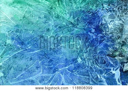 Abstract seamless art hand paint watercolor aquarelle wash drawing arty grunge on blue background horizontal picture