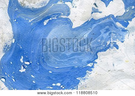 Abstract seamless watercolour aquarelle hand drawn wash drawing arty grunge creative splatters blots and blobs paper texture on blue background horizontal picture