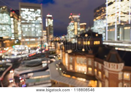 Burred bokeh light aerial view, Tokyo central train station