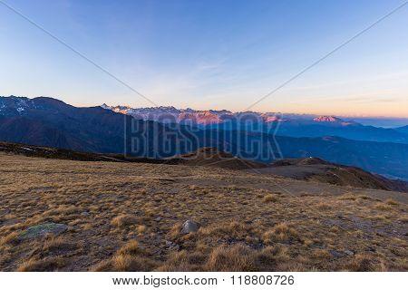 Mountain Silhouette And Stunning Sunlight At Dusk, Italian Alps