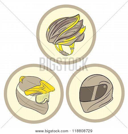 Three helmets in circles