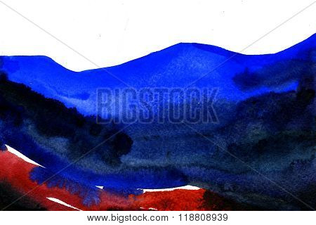 Abstract watercolour aquarelle hand drawn wash drawing arty grunge creative blue and red stroke marks blots blobs on white paper texture background horizontal picture