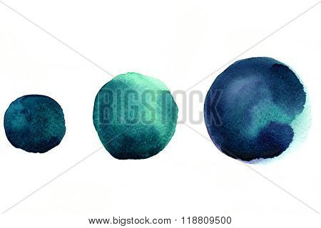 Three Marine Blue Circle Splatters