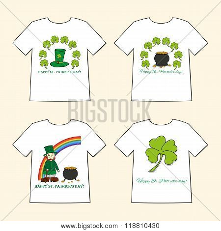 T-shirts With St. Patrick's Day Prints  - Leprechaun, Leprechaun's Hat, Pot Of Gold And Clov