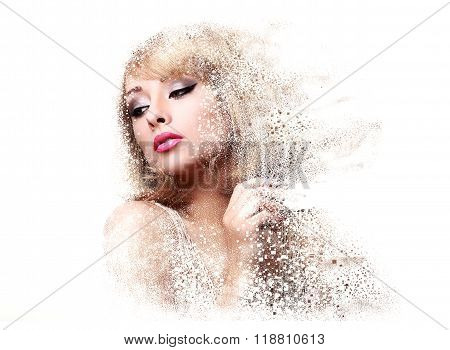 Fashion Makeup Woman With Pink Lipstick And Pixeled Dispersion Effect. Art Closeup Portrait Isolated