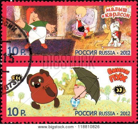 Russia - Circa 2012: Stamps Printed In Russia, Shows Series Heroes Of Domestic Cartoons