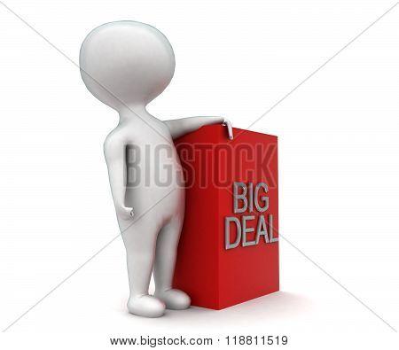 3D Man Presenting Big Deal Concept