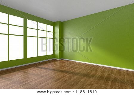 Empty Room With Parquet Floor, Textured Green Walls And Window