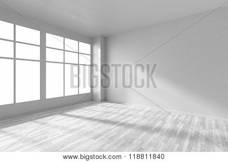 Empty Room With White Parquet Floor, Textured White Walls And Window