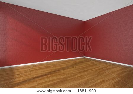 Empty Room With Parquet Floor And Textured Red Walls