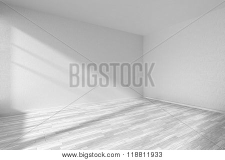 Empty Room With White Parquet Floor And Textured White Walls