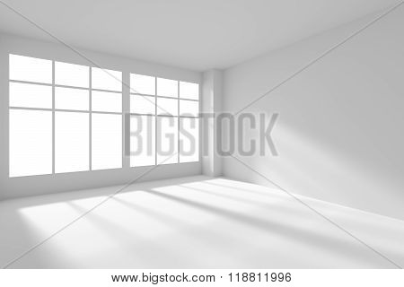 Empty White Room With Windows And Sunlight