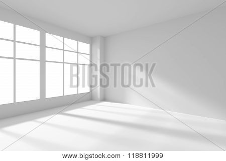White Empty Room With Windows And Sunlight