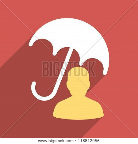 Patient Umbrella Care Flat Long Shadow Square Icon