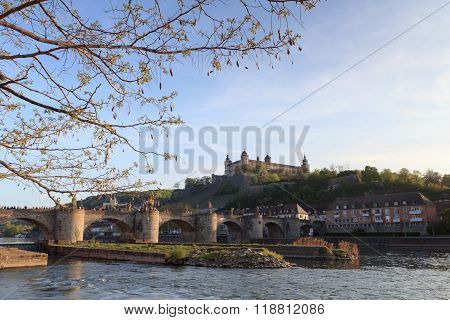 Marienberg Fortress and Alte Mainbrucke in Wurzburg Germany