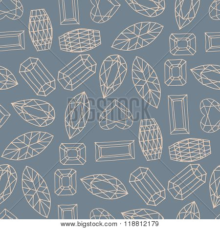 Vector geometric hand drawn seamless pattern of of faceted stone