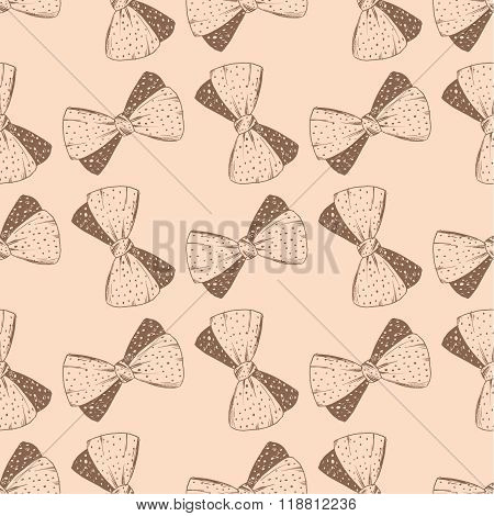 Seamless pattern with hand drawn bow. Background for gifs, tags