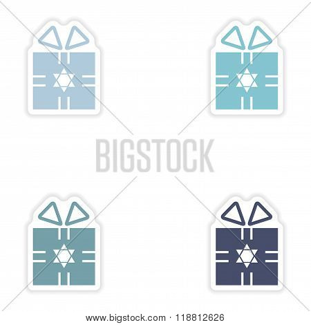 Set of paper stickers on white background Hanukkah gift