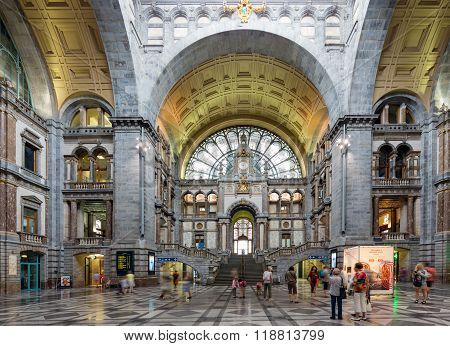Famous Art Deco Interior Antwerp Main Station, Belgium