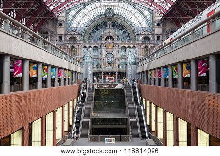 Staircase And Escalators In Famous Renovated Antwerp Central Station, Belgium