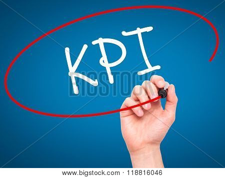 Man Hand Writing Kpi (key Performance Indicator) With Black Marker On Visual Screen