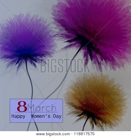 Happy Women Day Greeting Card Illustration With Colorful Flowers And Text March 8.