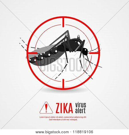 Nature Aedes Aegypti mosquitoes with stilt target. sights signal. Ideal for informational and instit