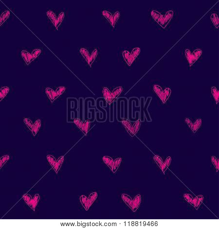 Vector Seamless Pattern Witch Sketch Heart Texture