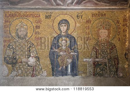 Mosaic In Hagia Sophia Museum, Istanbul City, Turkey