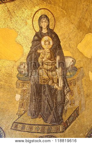 Apse Mosaic Of The Theotokos In Hagia Sophia Museum, Istanbul, Turkey