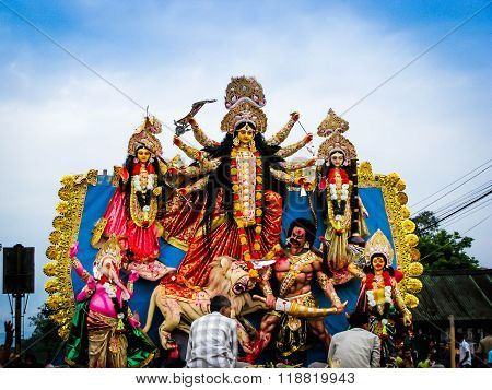 DIGBOI, ASSAM- OCTOBER 23: Farewell of Goddess Durga on 23rd October in Digboi