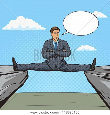 Businessman sitting on split between rocks pop art