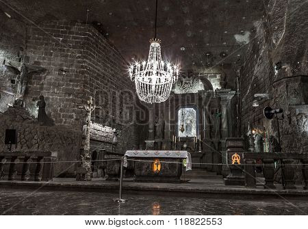KRAKOW, POLAND - 13 DECEMBER 2015 :The Chapel of St. Kinga is located 101 meters underground, Wielic