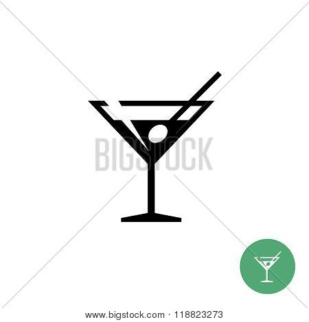 Triangle Martini Cocktail Glass Black Simple Icon