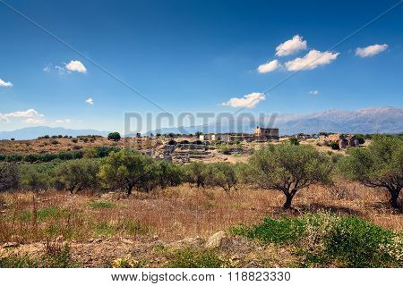 Landscape with old ruins near ruins of Aptera on Crete island, Greece