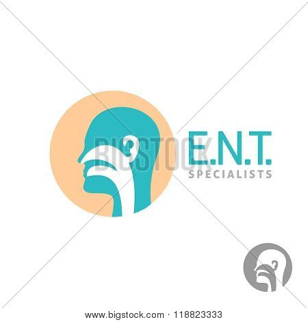 Ent Logo Template. Head Silhouette Sign For Ear, Nose, Throat Doctor Specialists.