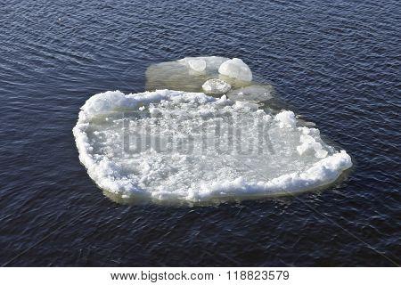 Ice Floe Drifts Downstream