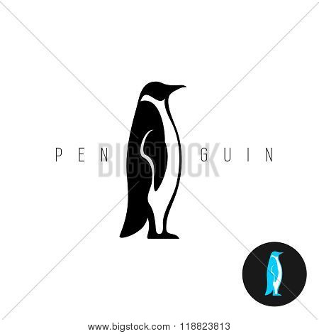 Penguin Black Silhouette Vector Logo. Side View Of A Standing Penguin.