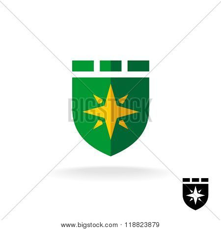 Shield Logo With Four Rays Sign. Flat Design Style Defense Symbol.