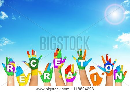 Set of colorful hands with word recreation