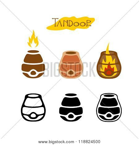 Tandoor Illustration. Black Monochrome And Color Logo Style Icons. With Inner And Outer Fire Flames.
