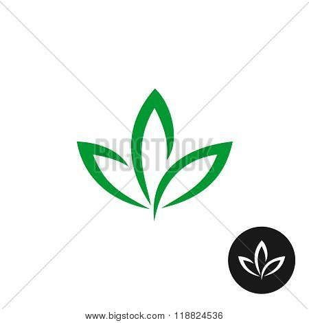 Three Green Leaf Vector Logo. Natural Plant Symbol.