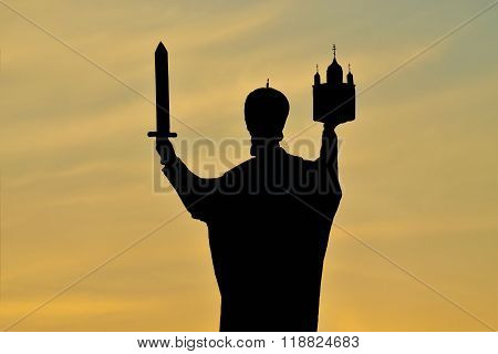 Silhouette Of Monument To Nicholas The Wonderworker. Kaliningrad, Russia