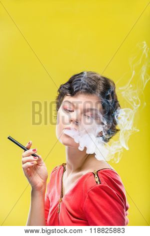 Girl with electronic cigarette