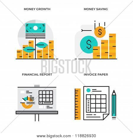 Flat line design vector illustration concept of Money Growth, Money Saving, Financial Report, Invoic