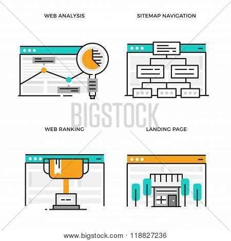Flat line design vector illustration concept of Web Analysis, Site map Navigation, Web Ranking, Land