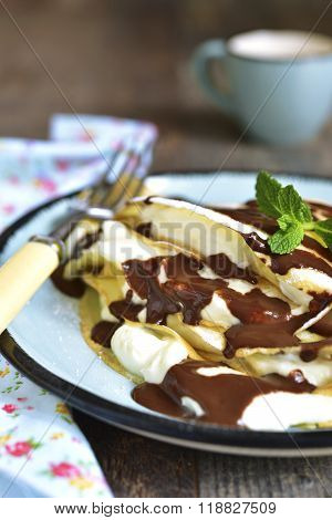 Thin Pancakes Stuffed With Mascarpone And Whipped Cream.