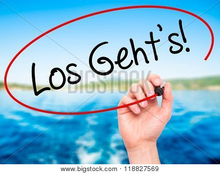 Man Hand Writing Los Geht's! (here We Go In German) With Black Marker On Visual Screen